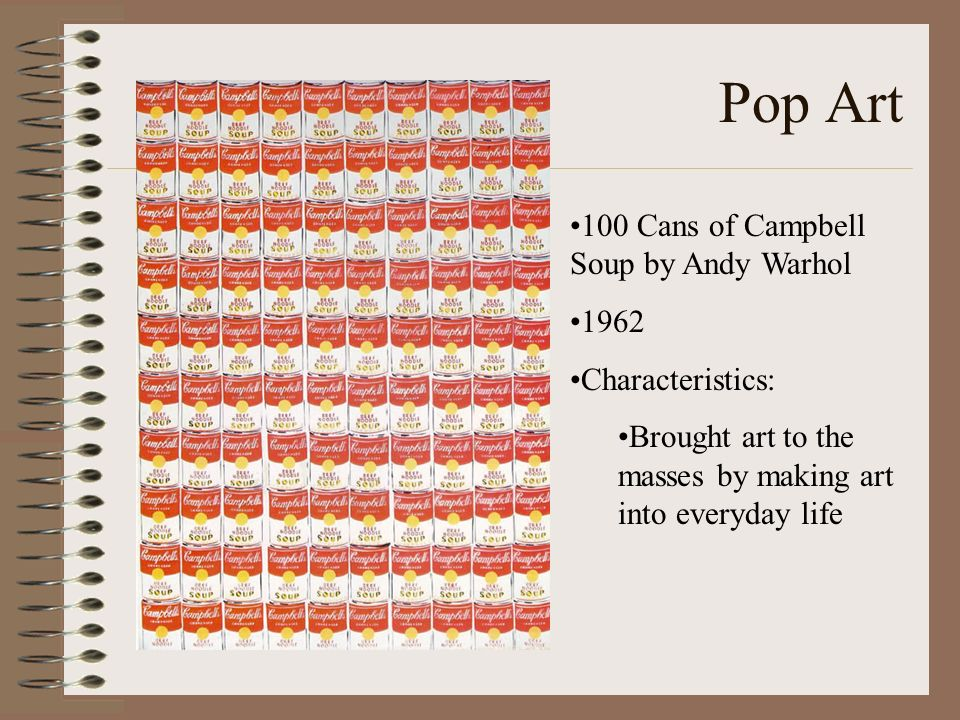 Pop Art 100 Cans of Campbell Soup by Andy Warhol 1962 Characteristics:
