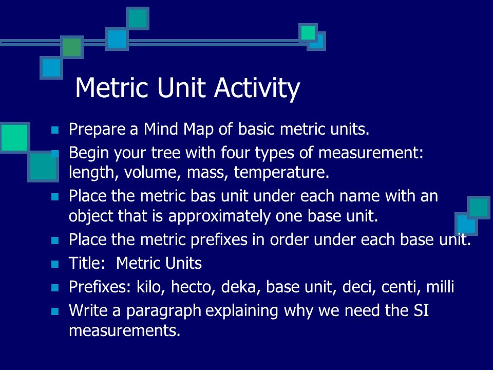 Metric Unit Activity Prepare a Mind Map of basic metric units.