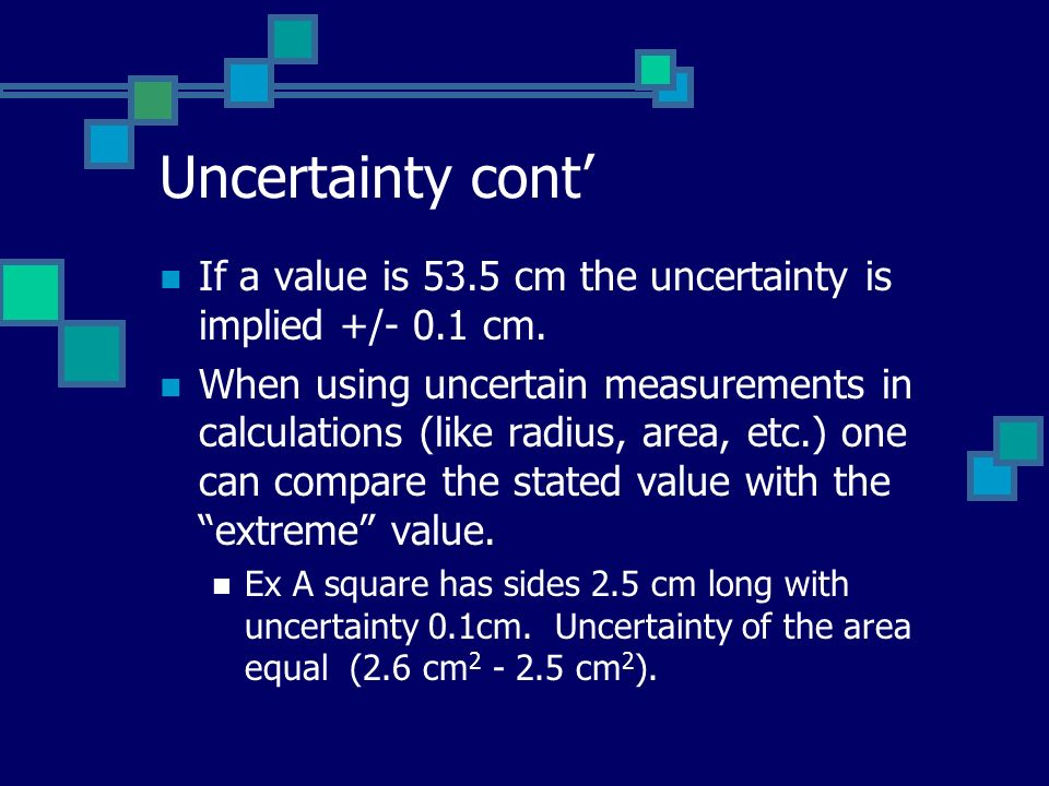Uncertainty cont' If a value is 53.5 cm the uncertainty is implied +/- 0.1 cm.