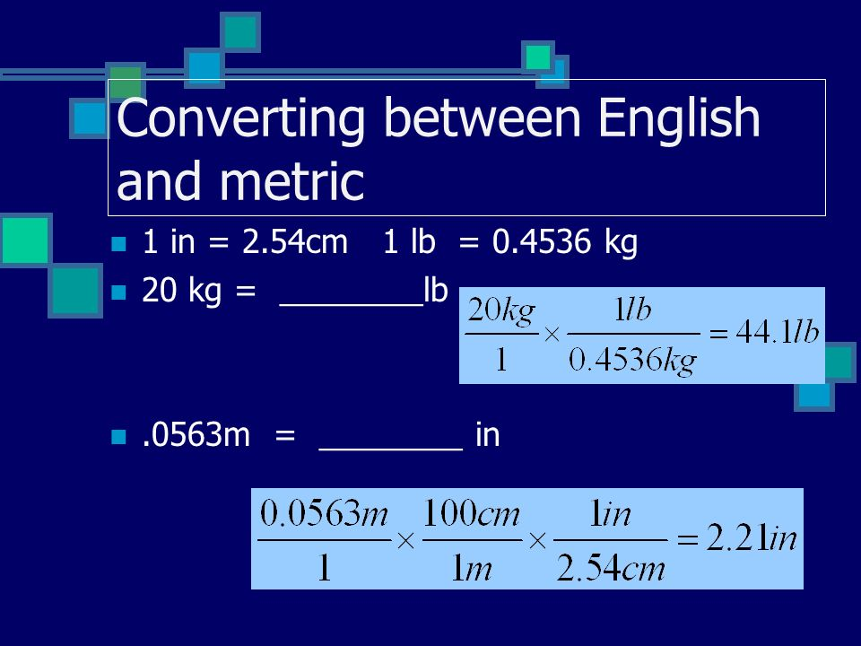 Converting between English and metric