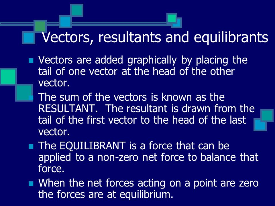 Vectors, resultants and equilibrants