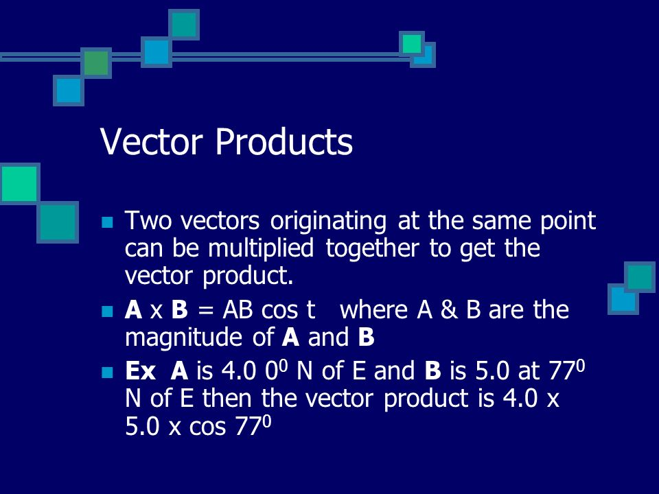 Vector Products Two vectors originating at the same point can be multiplied together to get the vector product.
