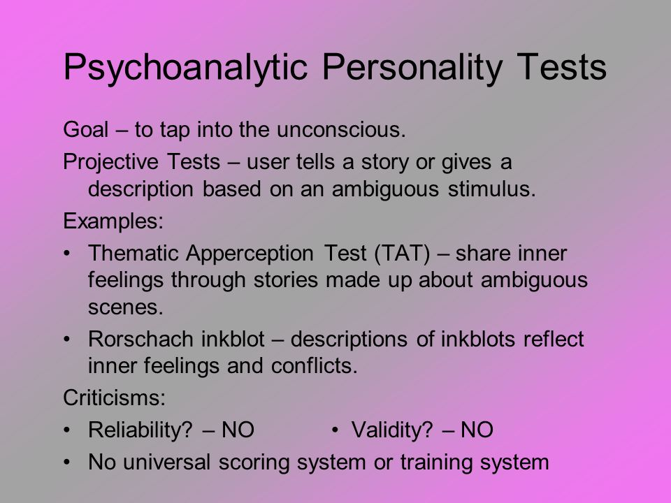 Psychoanalytic Personality Tests