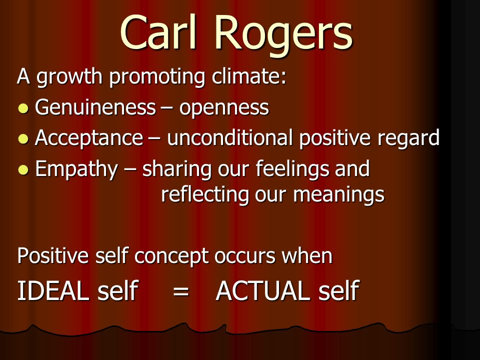 Carl Rogers IDEAL self = ACTUAL self A growth promoting climate: