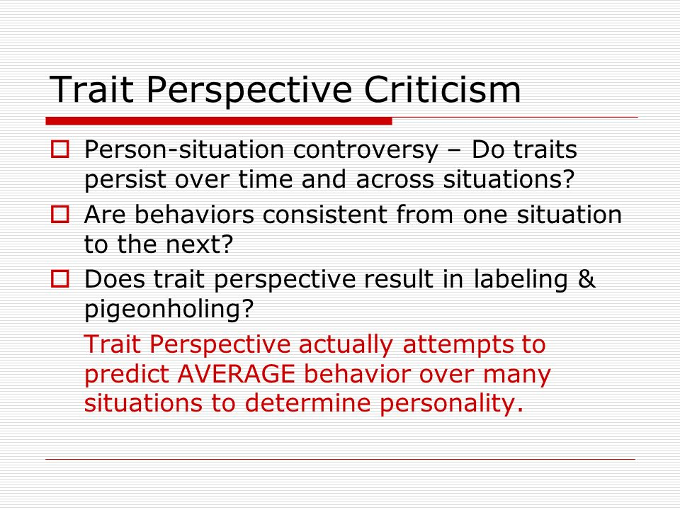 Trait Perspective Criticism