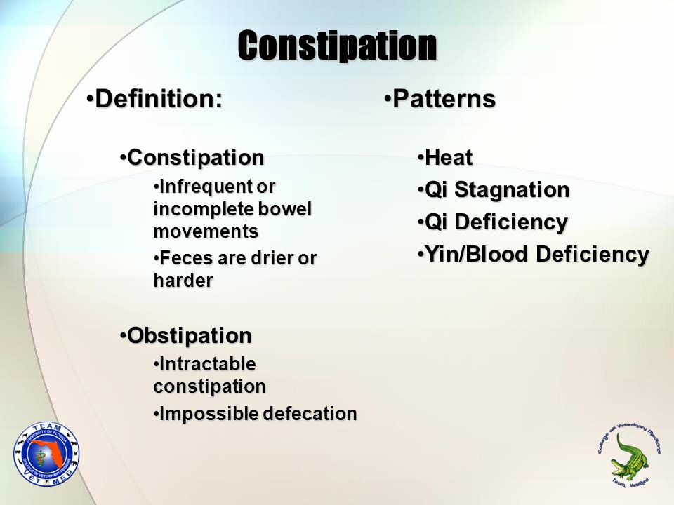 Constipation Definition: Patterns Constipation Obstipation Heat