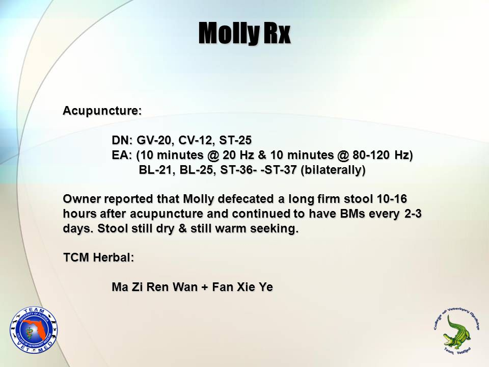Molly Rx Acupuncture: DN: GV-20, CV-12, ST-25