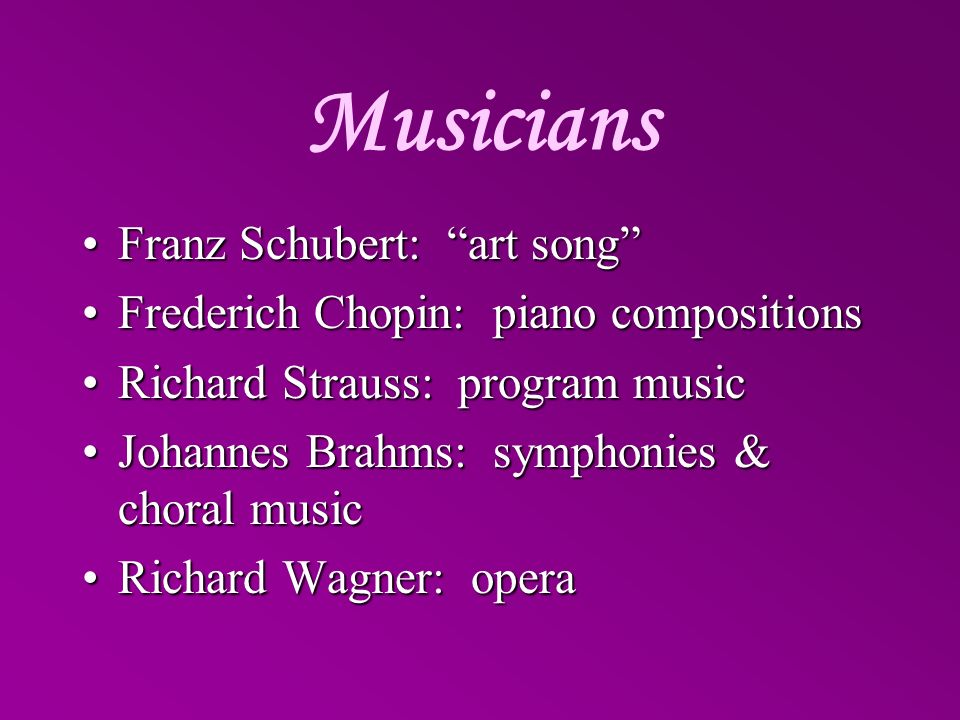 Musicians Franz Schubert: art song