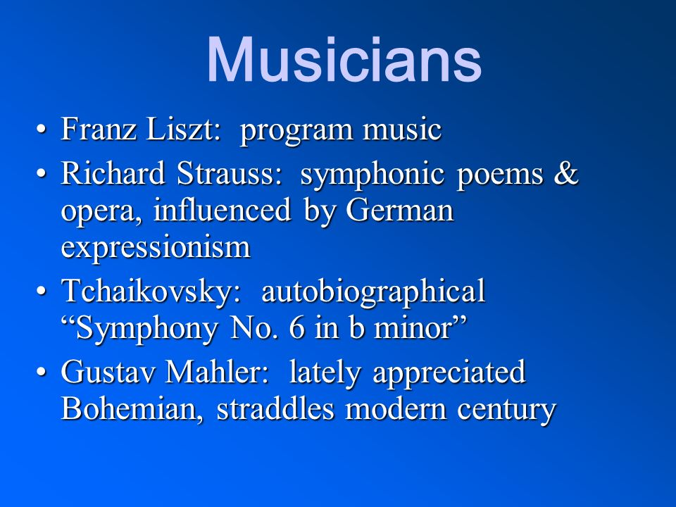 Musicians Franz Liszt: program music