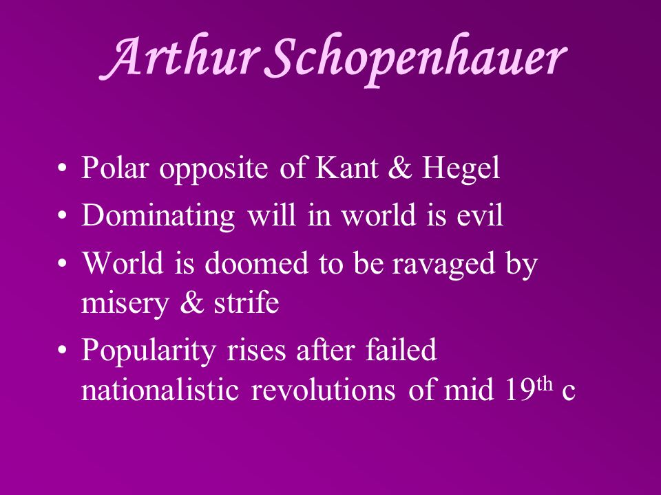 Arthur Schopenhauer Polar opposite of Kant & Hegel