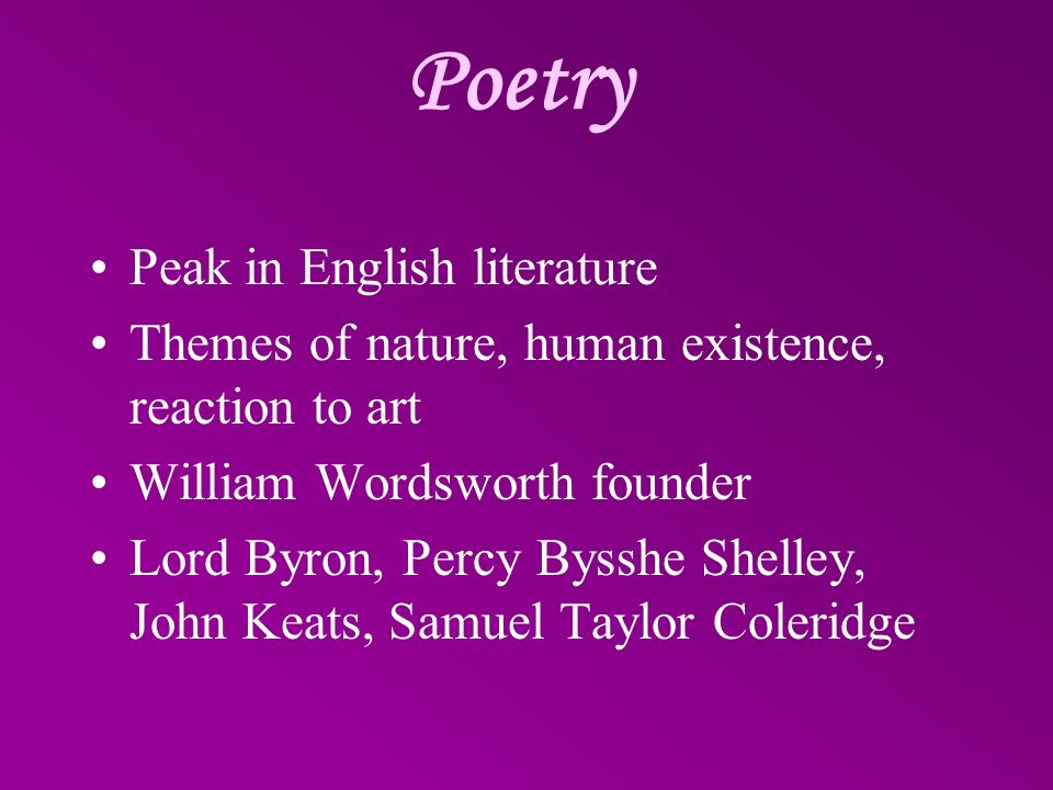 Poetry Peak in English literature