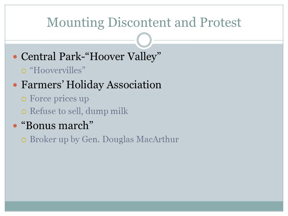 Mounting Discontent and Protest