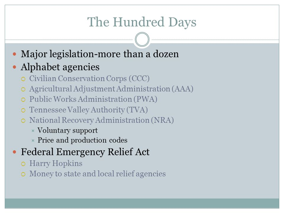 The Hundred Days Major legislation-more than a dozen Alphabet agencies