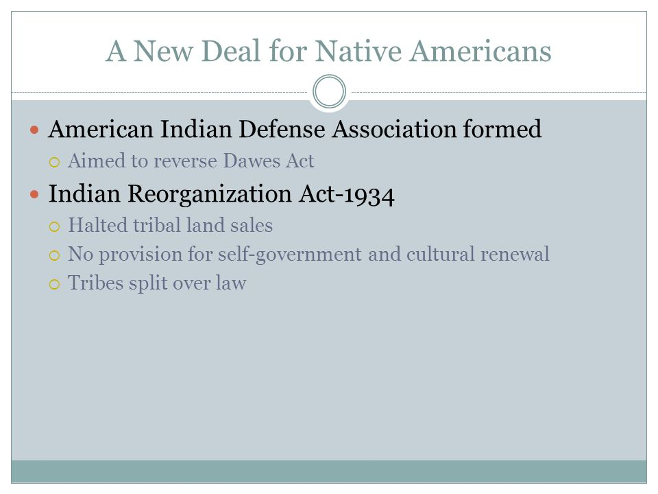 A New Deal for Native Americans