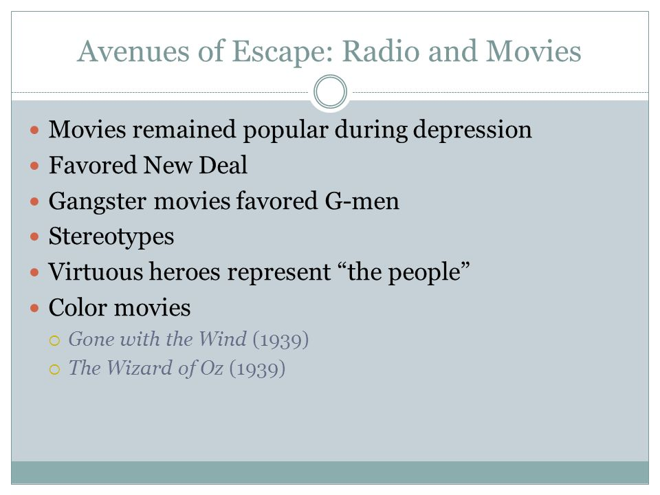 Avenues of Escape: Radio and Movies
