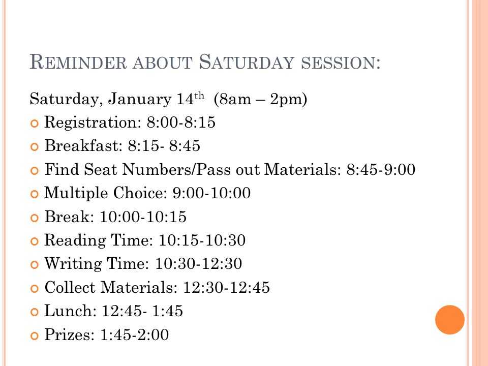 Reminder about Saturday session: