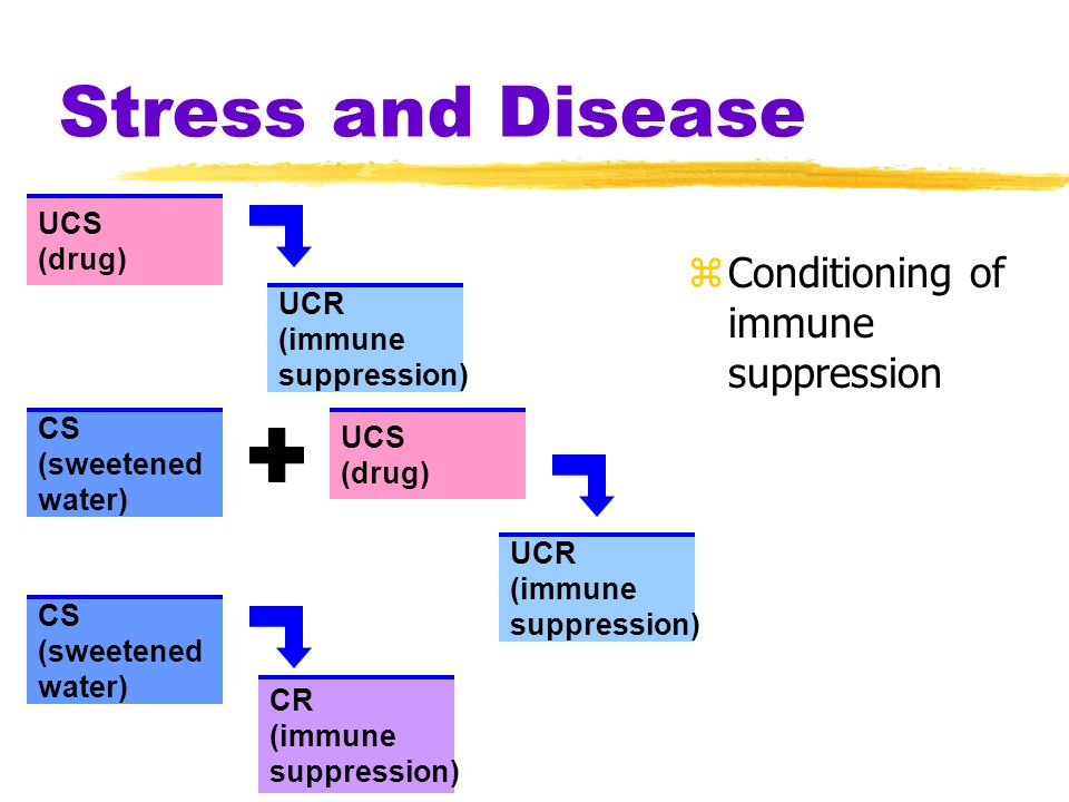 Stress and Disease Conditioning of immune suppression UCS (drug) UCR