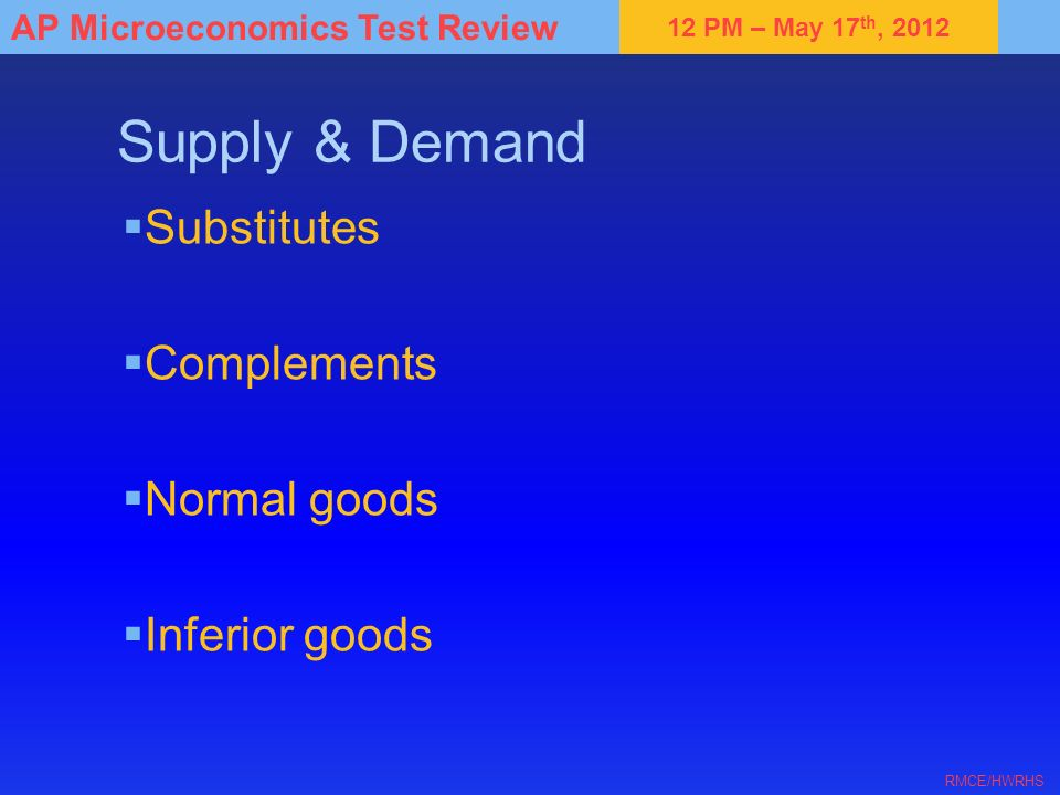 Supply & Demand Substitutes Complements Normal goods Inferior goods