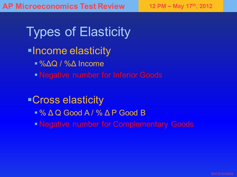Types of Elasticity Income elasticity Cross elasticity %ΔQ / %Δ Income