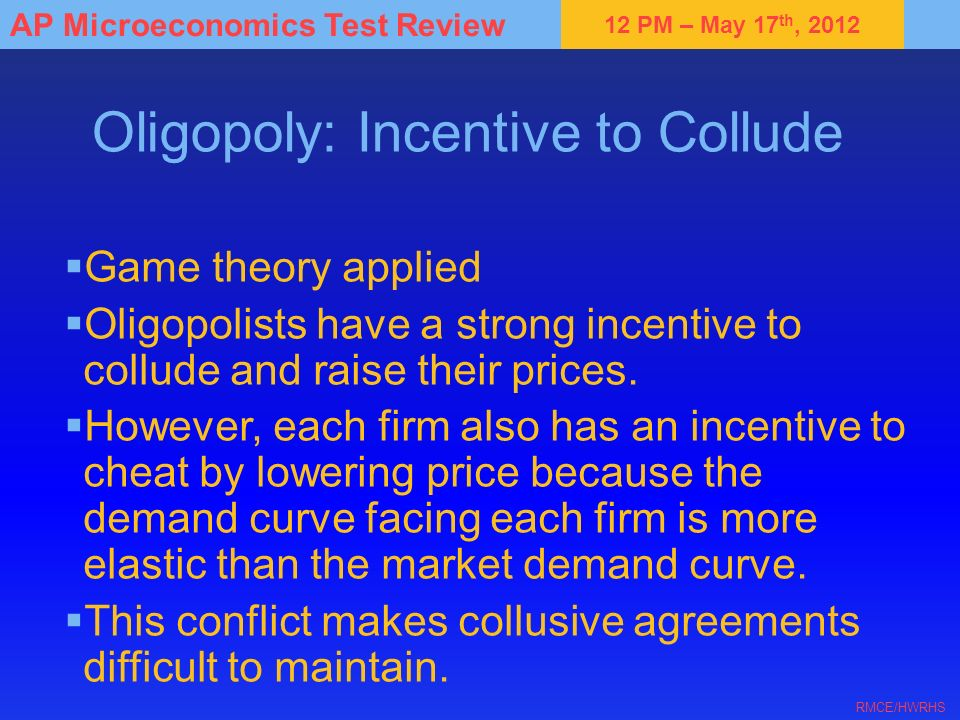 Oligopoly: Incentive to Collude