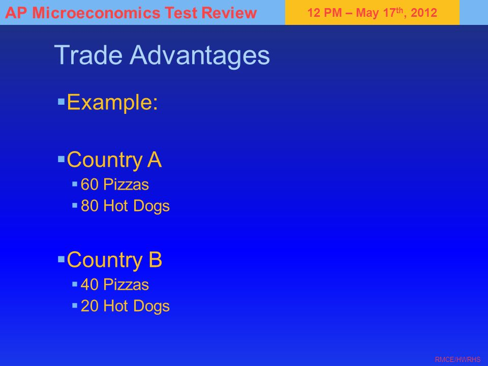 Trade Advantages Example: Country A Country B 60 Pizzas 80 Hot Dogs