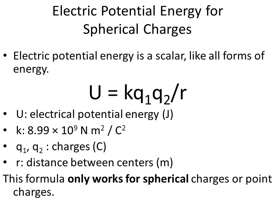 Electric Potential Energy for Spherical Charges