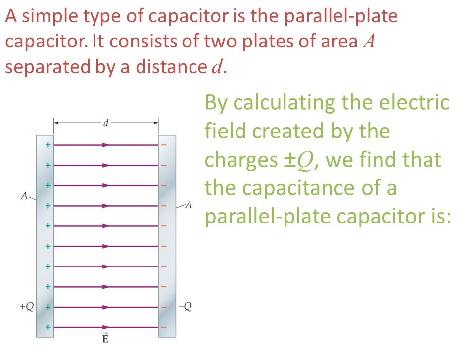 A simple type of capacitor is the parallel-plate capacitor