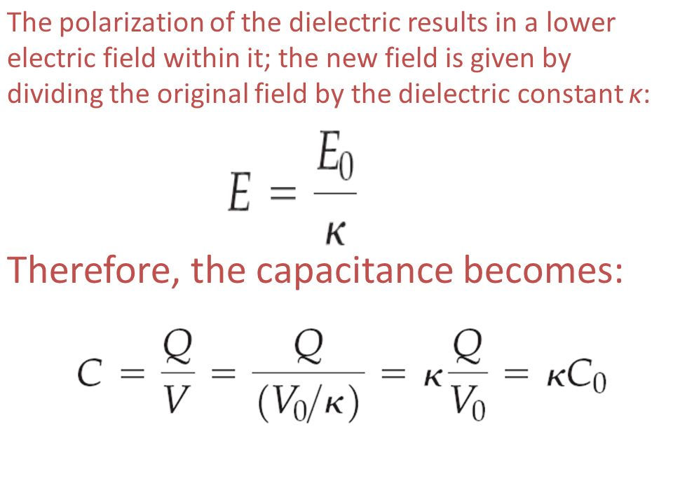 Therefore, the capacitance becomes: