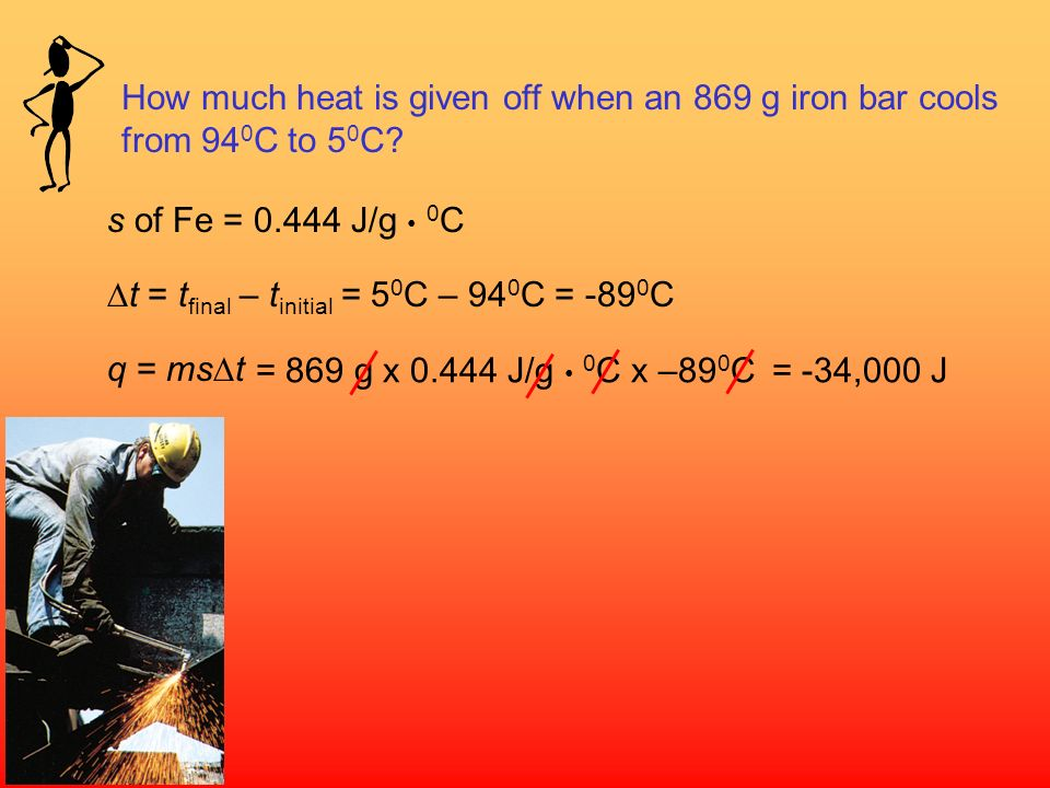 How much heat is given off when an 869 g iron bar cools from 940C to 50C