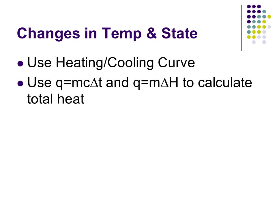 Changes in Temp & State Use Heating/Cooling Curve