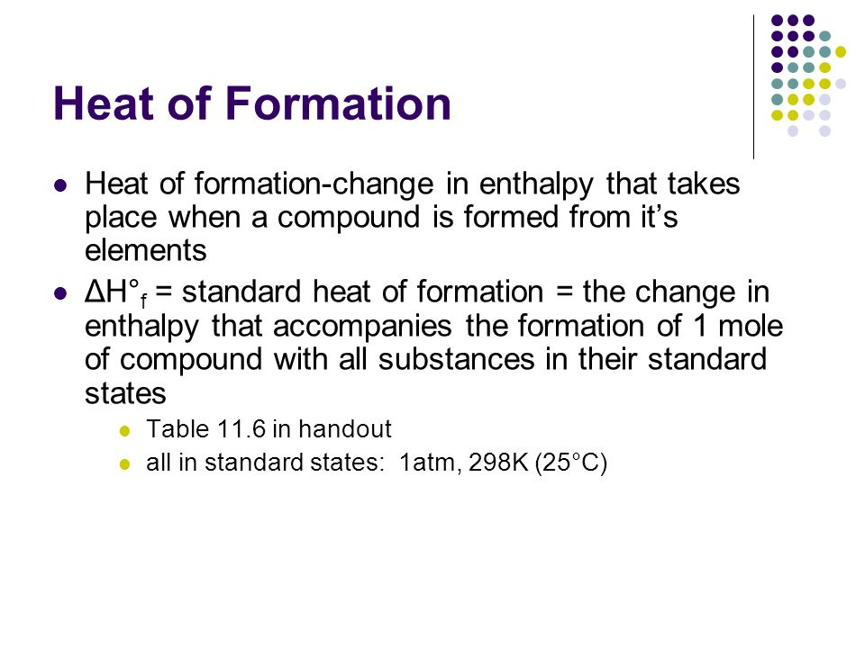Heat of Formation Heat of formation-change in enthalpy that takes place when a compound is formed from it's elements.