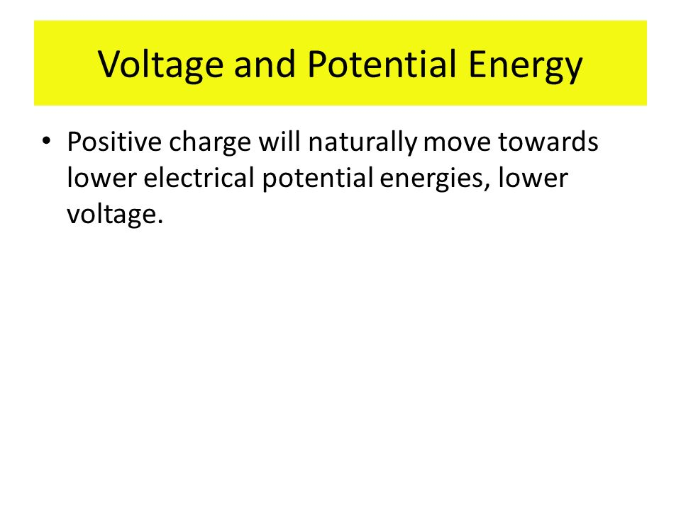 Voltage and Potential Energy