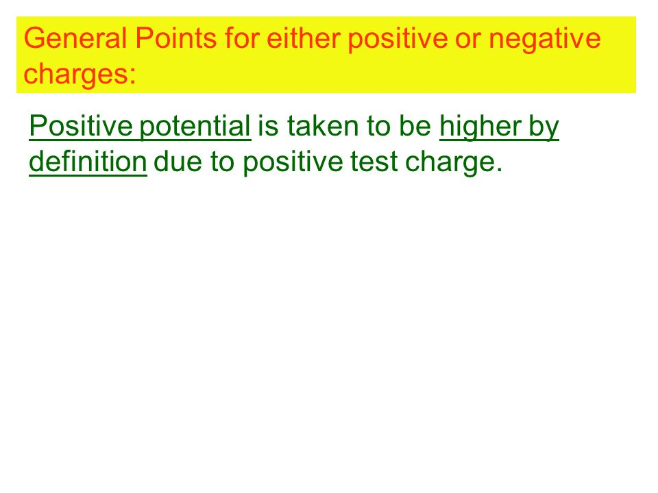 General Points for either positive or negative charges: