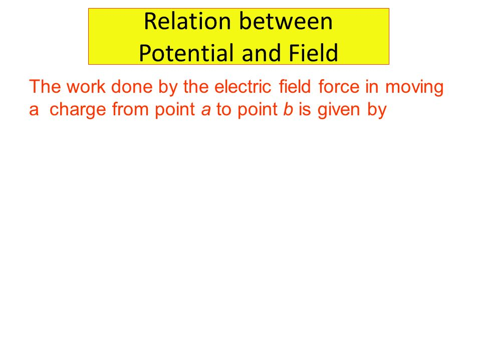 Relation between Potential and Field