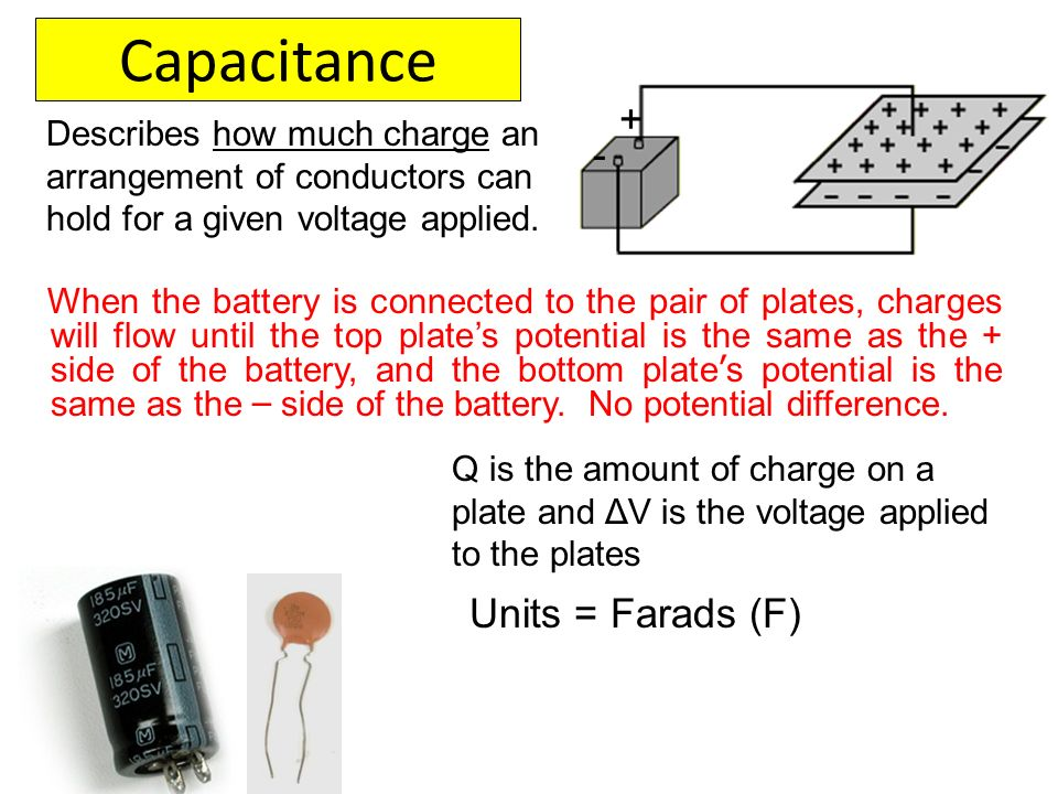 Capacitance + - Units = Farads (F)