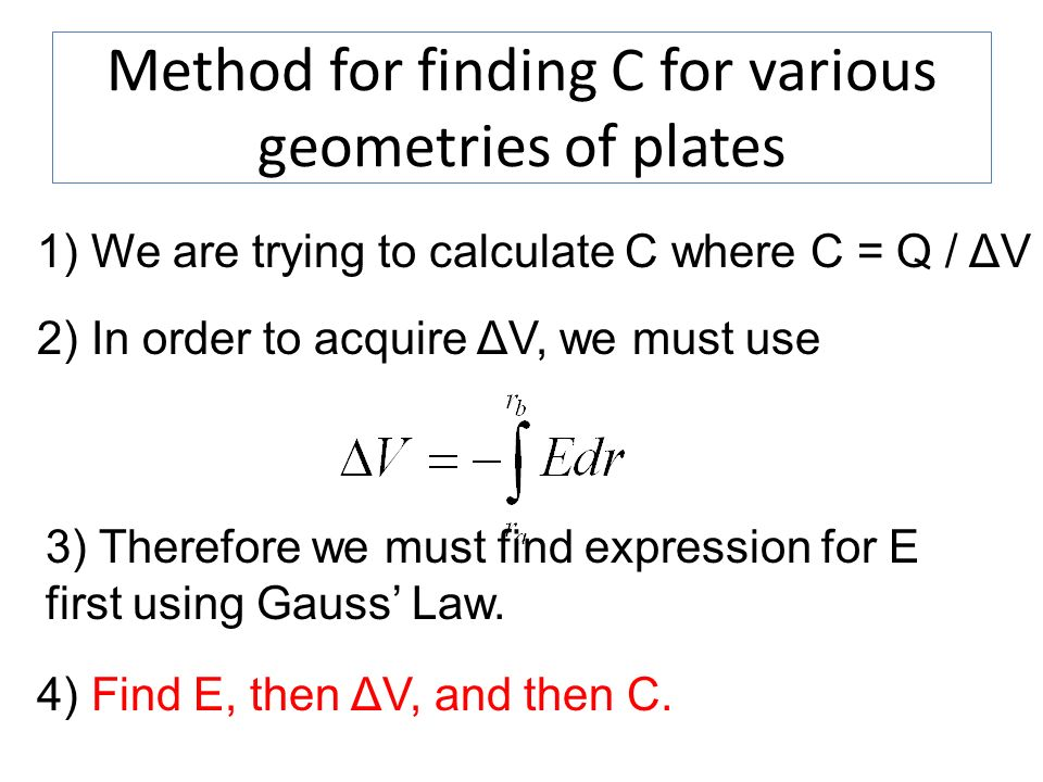 Method for finding C for various geometries of plates