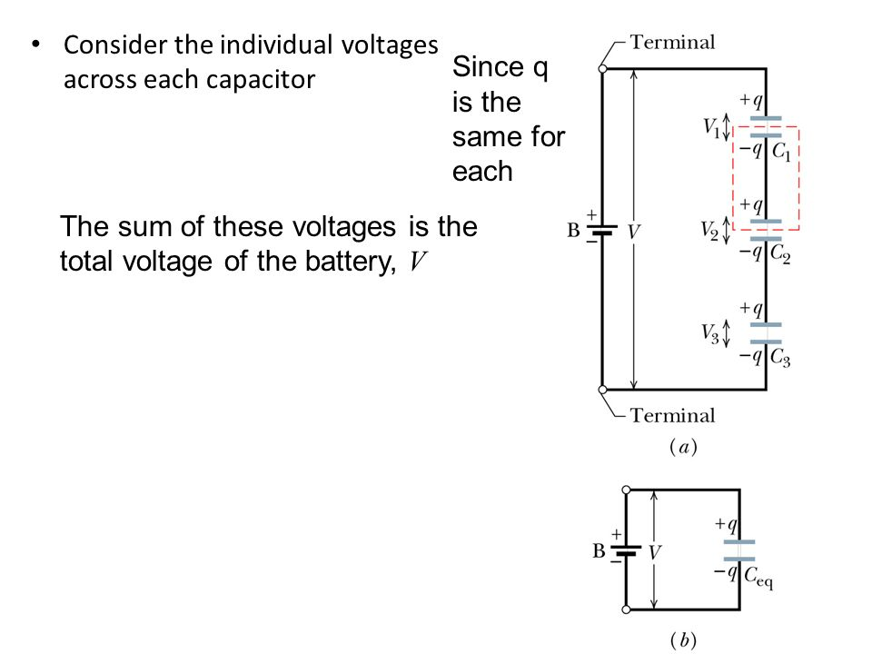 Consider the individual voltages across each capacitor
