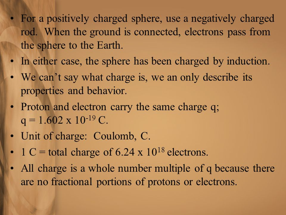 For a positively charged sphere, use a negatively charged rod