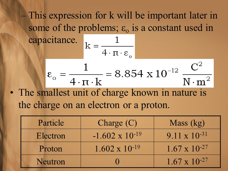 This expression for k will be important later in some of the problems; eo is a constant used in capacitance.