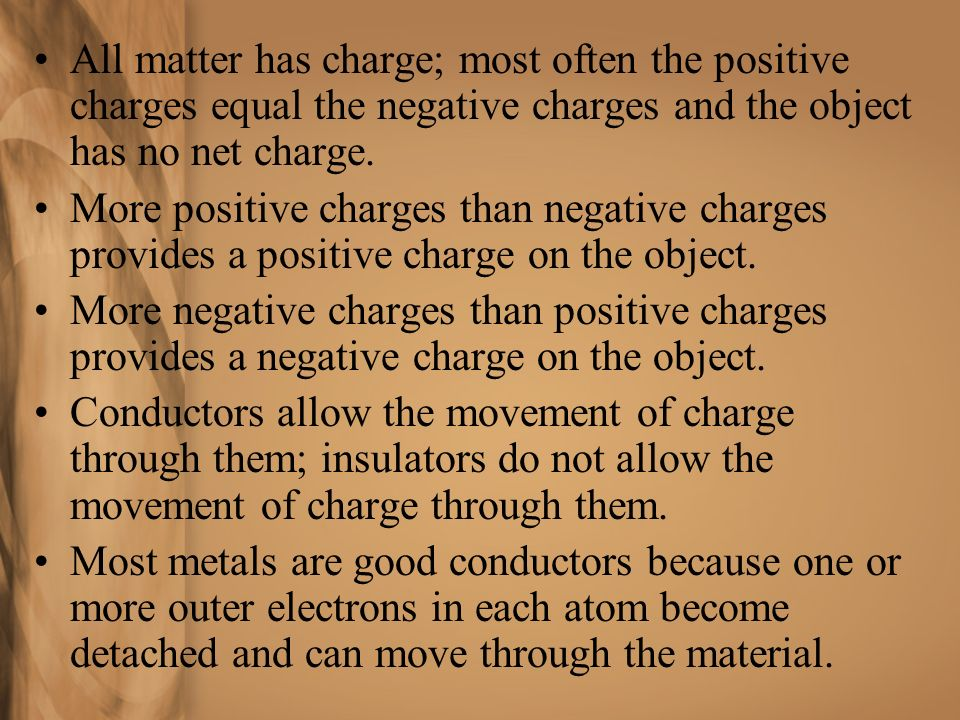 All matter has charge; most often the positive charges equal the negative charges and the object has no net charge.