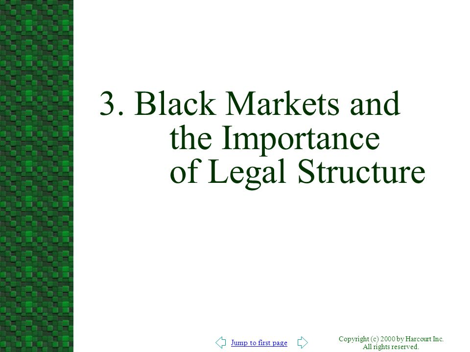 3. Black Markets and the Importance of Legal Structure