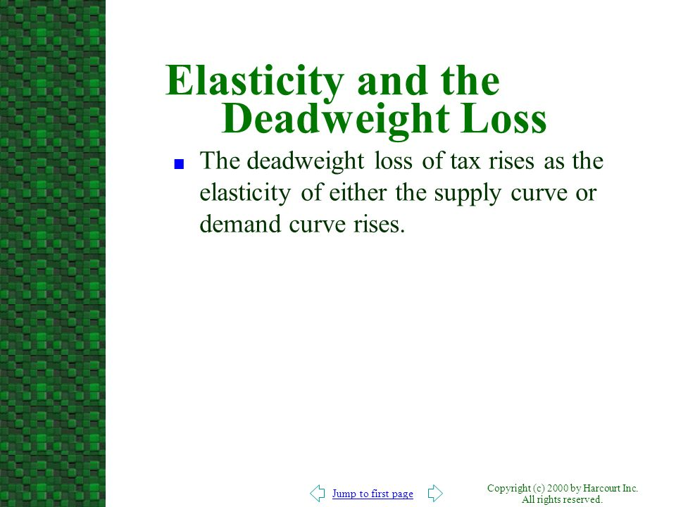 Elasticity and the Deadweight Loss