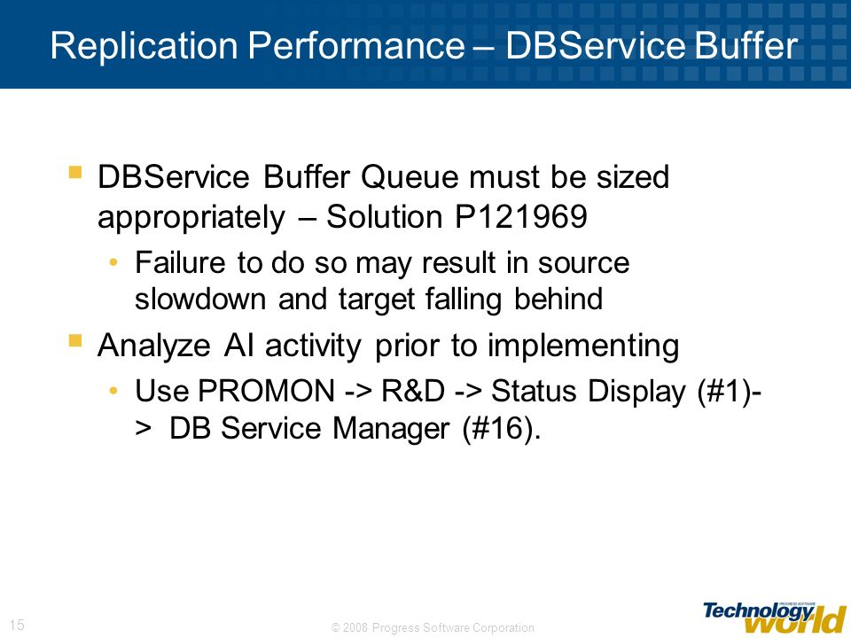 Replication Performance – DBService Buffer