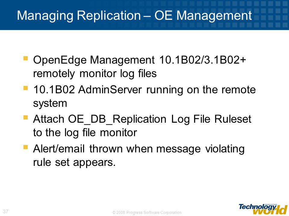 Managing Replication – OE Management