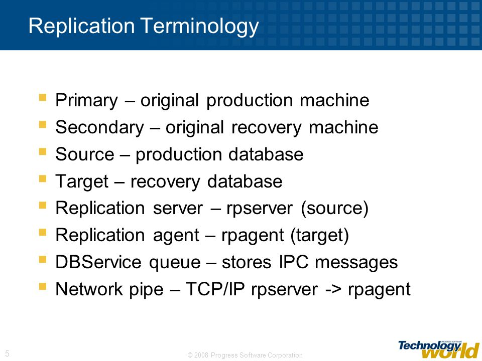 Replication Terminology