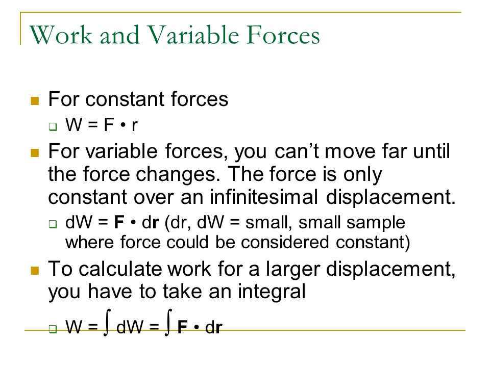 Work and Variable Forces
