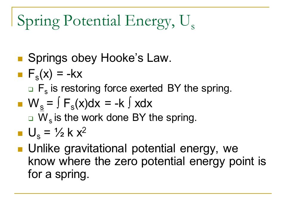 Spring Potential Energy, Us