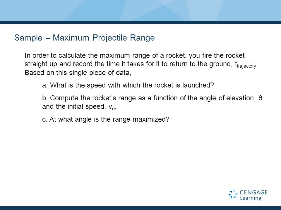 Sample – Maximum Projectile Range