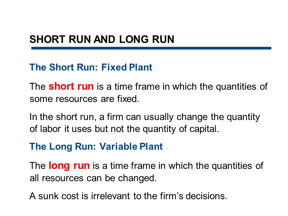 SHORT RUN AND LONG RUN The Short Run: Fixed Plant