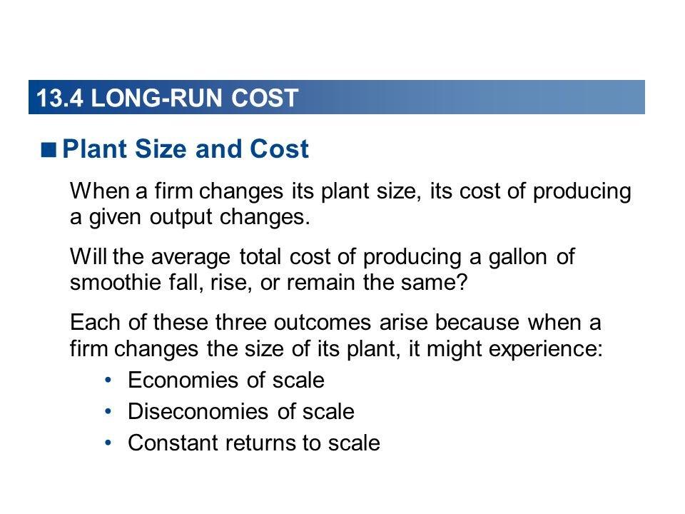 Plant Size and Cost 13.4 LONG-RUN COST